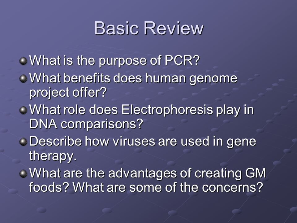 Basic Review What is the purpose of PCR.What benefits does human genome project offer.