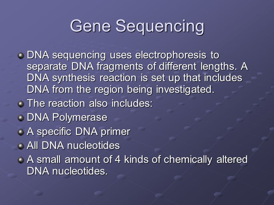 Gene Sequencing DNA sequencing uses electrophoresis to separate DNA fragments of different lengths.