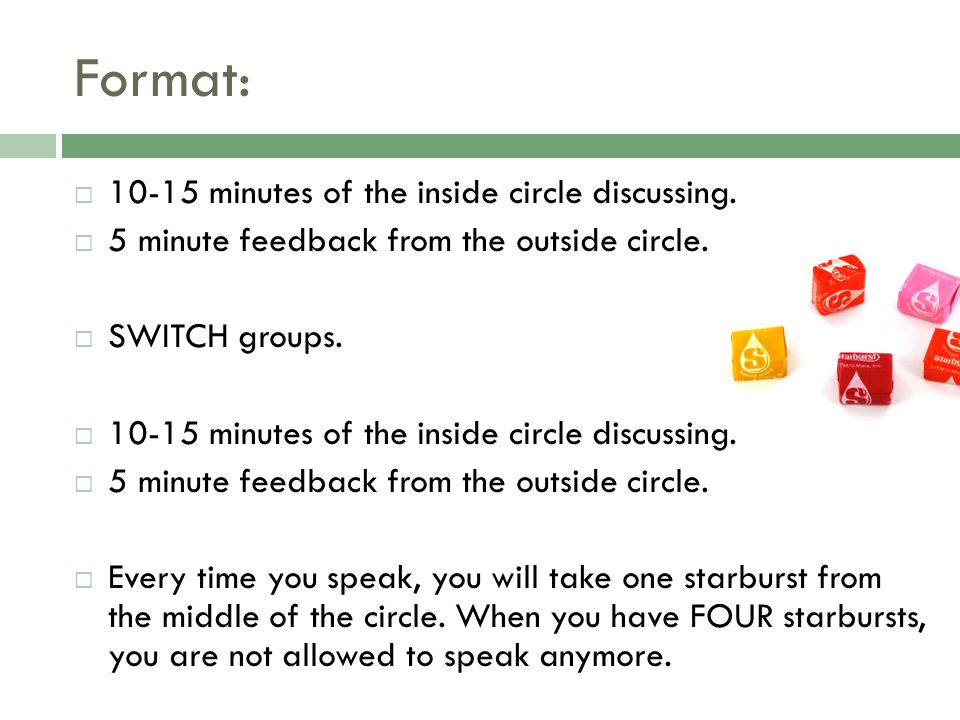 Format:  10-15 minutes of the inside circle discussing.