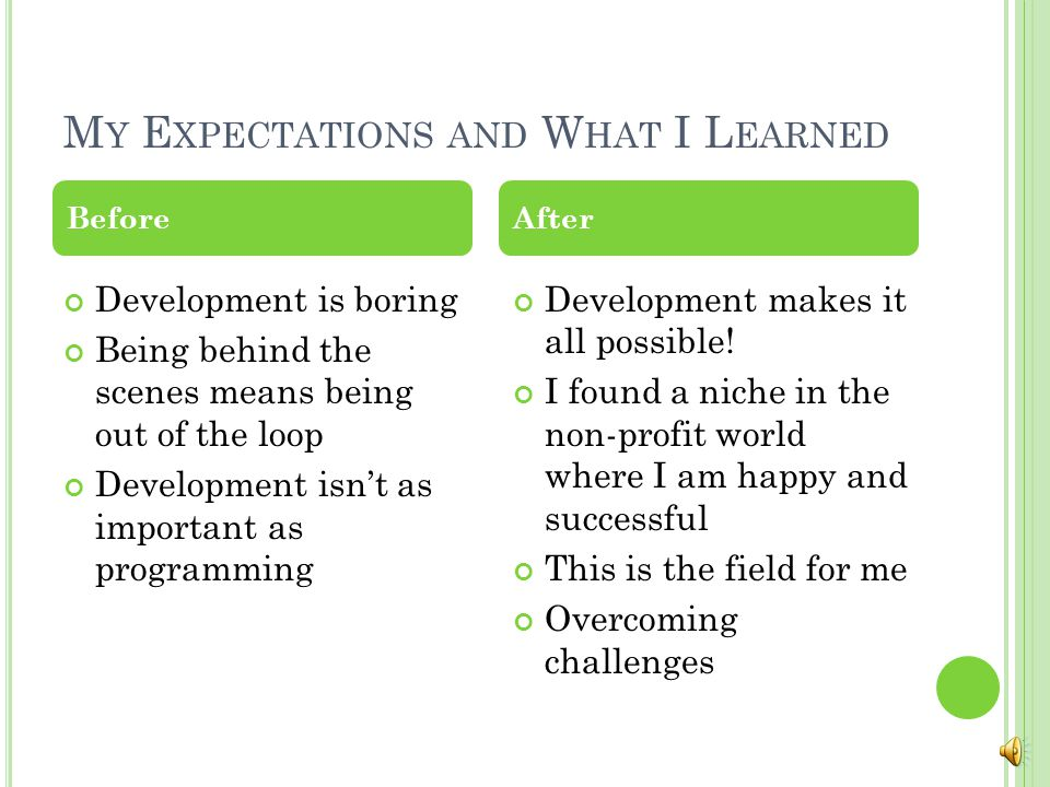 M Y E XPECTATIONS AND W HAT I L EARNED Development is boring Being behind the scenes means being out of the loop Development isn't as important as programming Development makes it all possible.