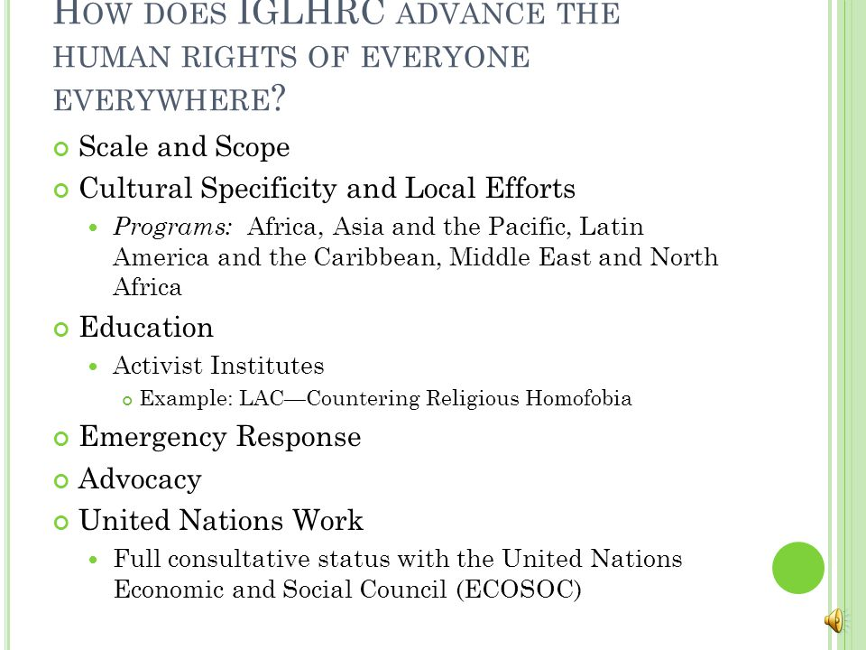 H OW DOES IGLHRC ADVANCE THE HUMAN RIGHTS OF EVERYONE EVERYWHERE .