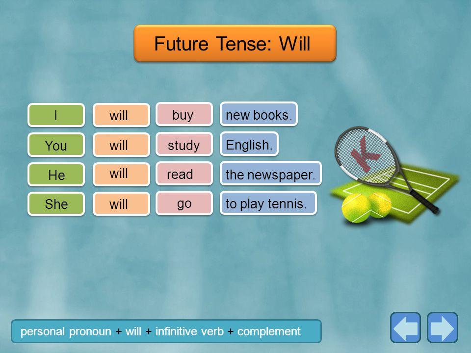 I You He She buy study go new books.English. to play tennis.