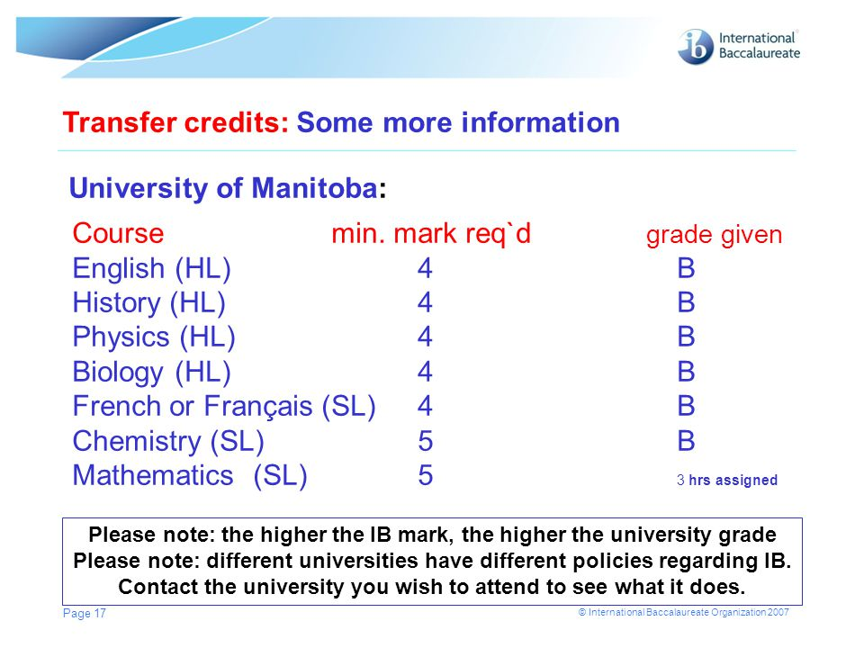 © International Baccalaureate Organization 2007 Page 17 Transfer credits: Some more information University of Manitoba: Coursemin. mark req`d grade gi