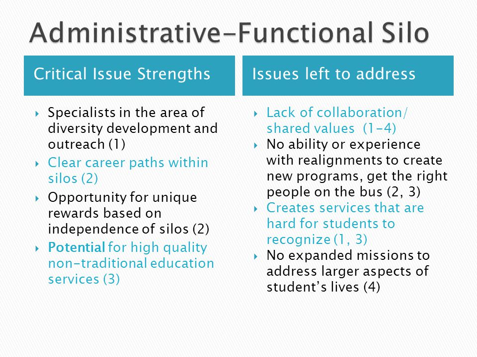 Critical Issue StrengthsIssues left to address  Specialists in the area of diversity development and outreach (1)  Clear career paths within silos (2)  Opportunity for unique rewards based on independence of silos (2)  Potential for high quality non-traditional education services (3)  Lack of collaboration/ shared values (1-4)  No ability or experience with realignments to create new programs, get the right people on the bus (2, 3)  Creates services that are hard for students to recognize (1, 3)  No expanded missions to address larger aspects of student's lives (4)