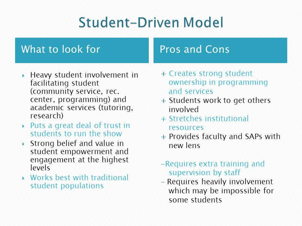 What to look forPros and Cons  Heavy student involvement in facilitating student (community service, rec.
