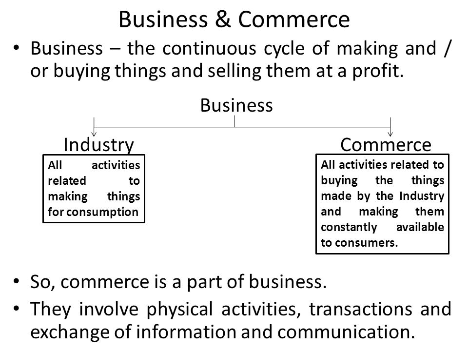 Business & Commerce Business – the continuous cycle of making and / or buying things and selling them at a profit. Business IndustryCommerce So, comme