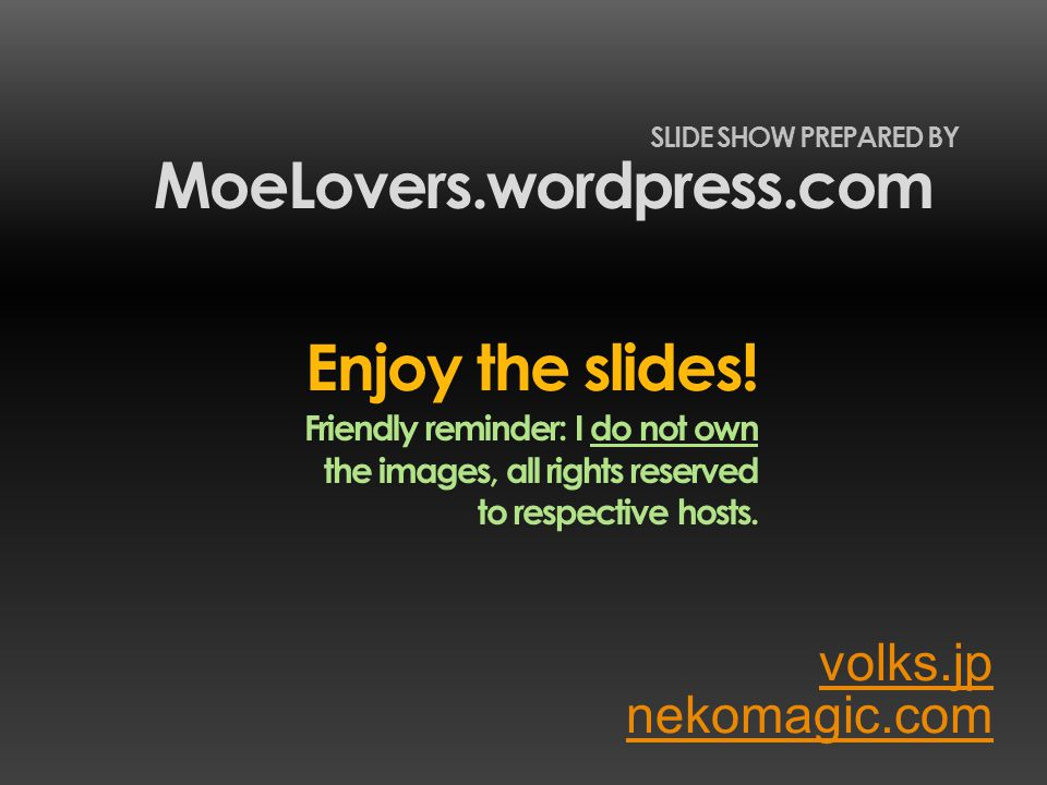 volks.jp MoeLovers.wordpress.com SLIDE SHOW PREPARED BY nekomagic.com Enjoy the slides! Friendly reminder: I do not own the images, all rights reserve