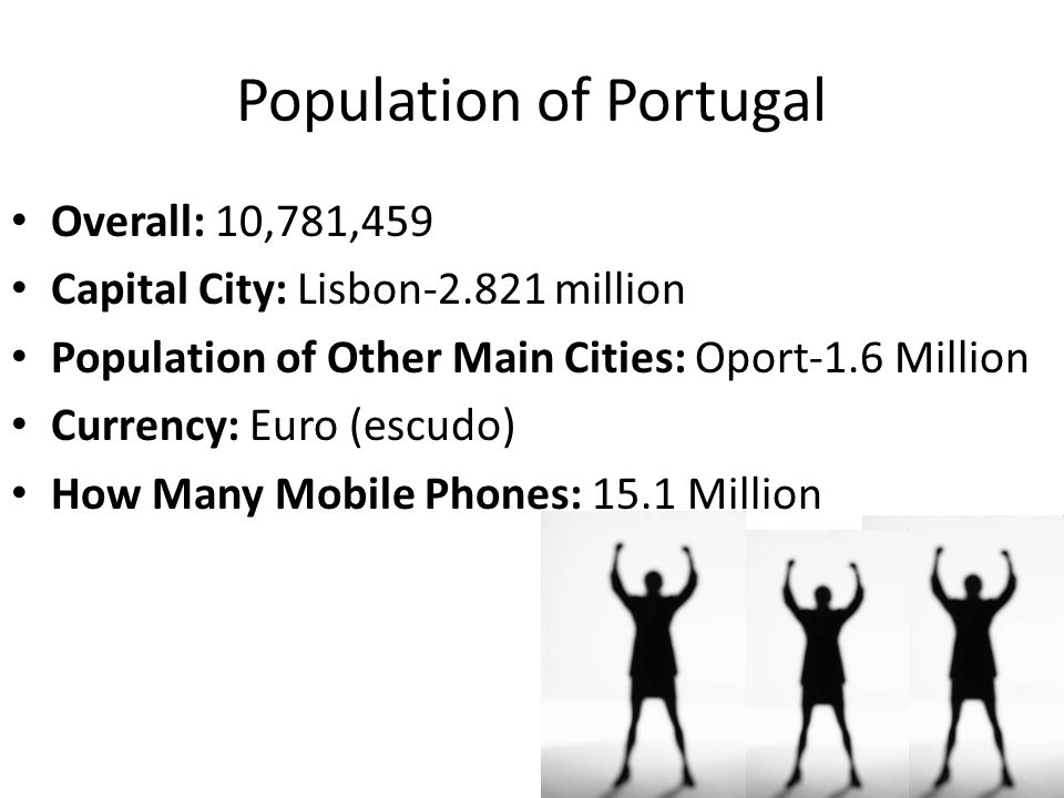 Population of Portugal Overall: 10,781,459 Capital City: Lisbon-2.821 million Population of Other Main Cities: Oport-1.6 Million Currency: Euro (escudo) How Many Mobile Phones: 15.1 Million