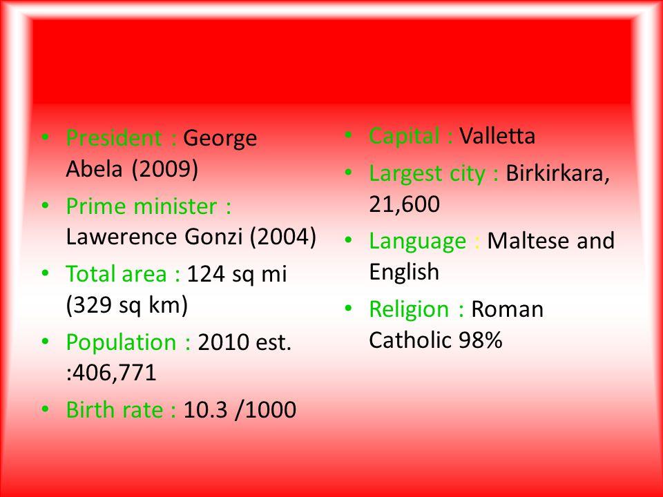 President : George Abela (2009) Prime minister : Lawerence Gonzi (2004) Total area : 124 sq mi (329 sq km) Population : 2010 est.