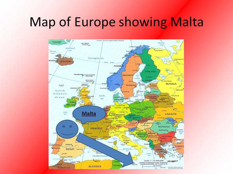 Map of Europe showing Malta Malta