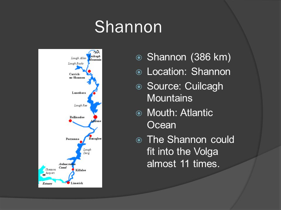 Shannon  Shannon (386 km)  Location: Shannon  Source: Cuilcagh Mountains  Mouth: Atlantic Ocean  The Shannon could fit into the Volga almost 11 times.