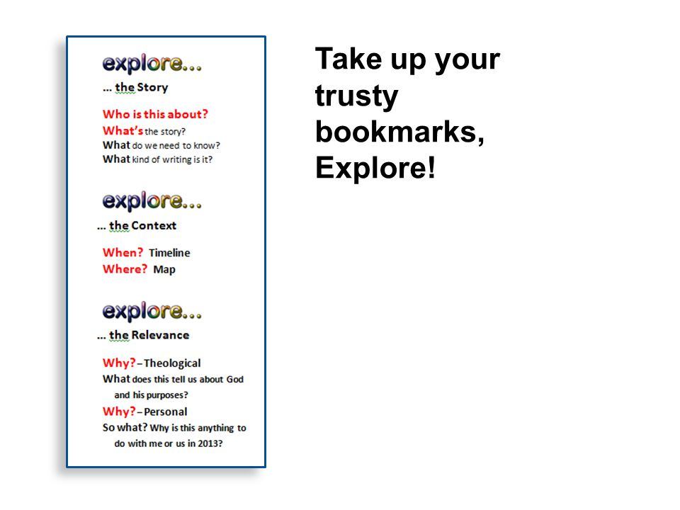 Take up your trusty bookmarks, Explore!