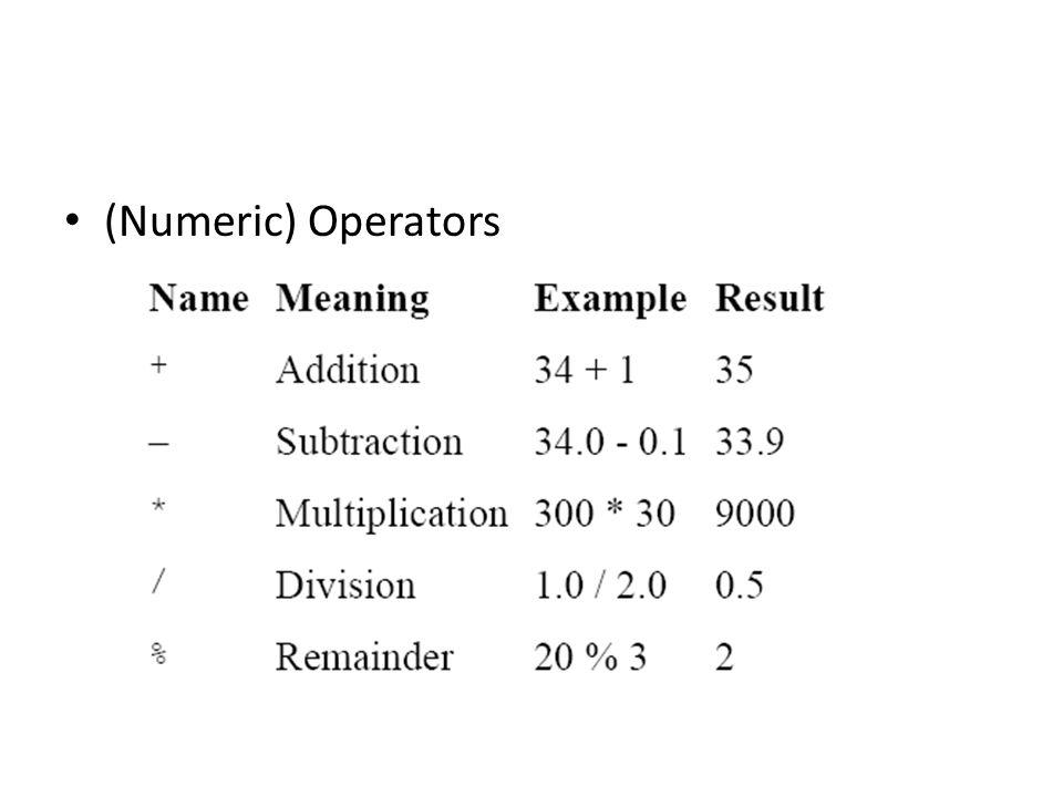 (Numeric) Operators