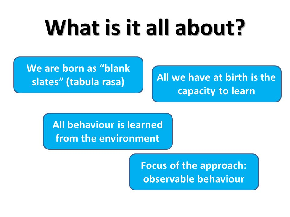 """What is it all about? All behaviour is learned from the environment We are born as """"blank slates"""" (tabula rasa) All we have at birth is the capacity t"""