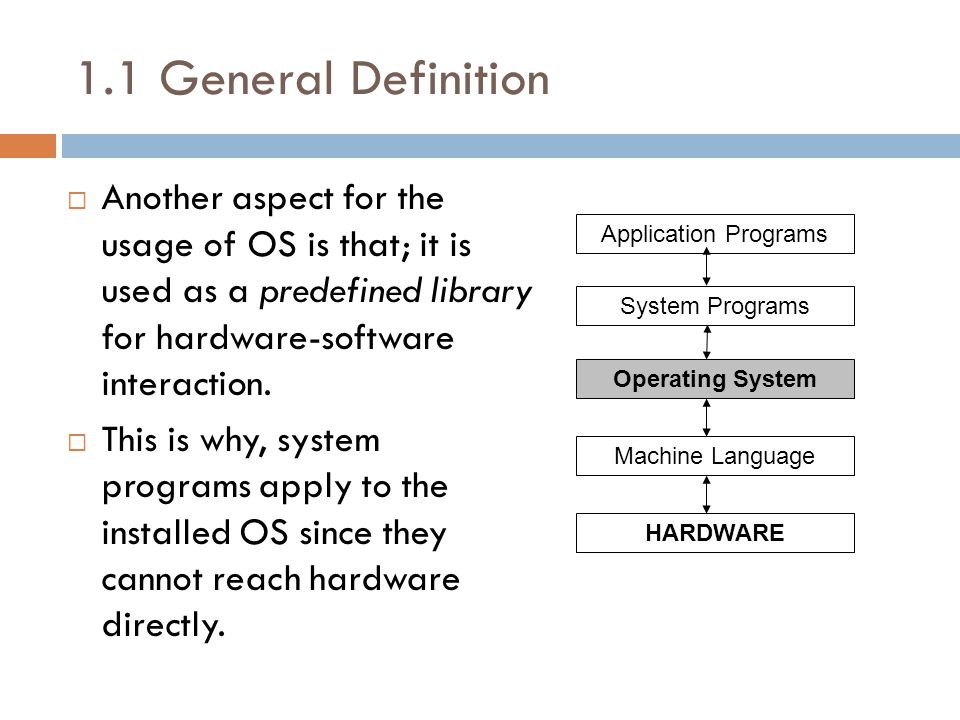 1.1 General Definition  Another aspect for the usage of OS is that; it is used as a predefined library for hardware-software interaction.