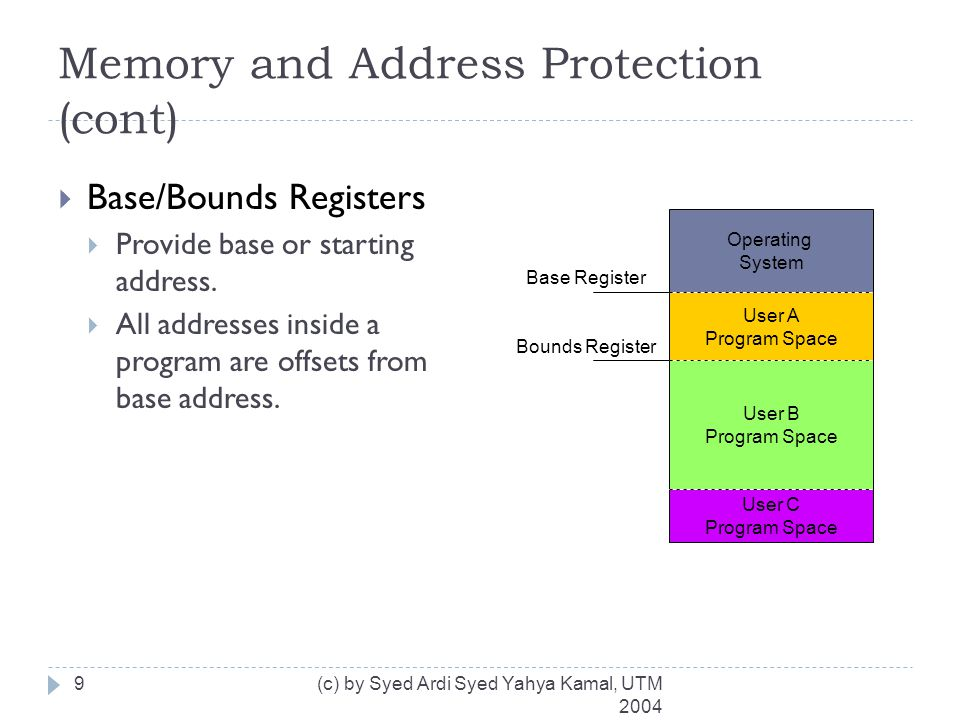 Memory and Address Protection (cont)  Tagged Architecture  Every word of machine memory has one or more bits to identify the access rights to that word.