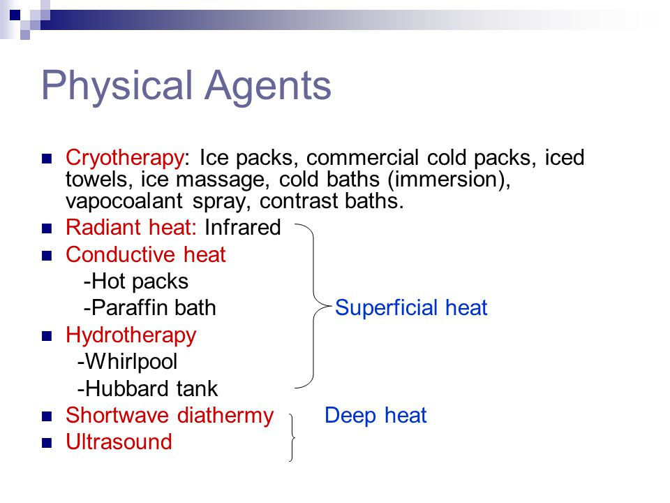 Physical Agents Cryotherapy: Ice packs, commercial cold packs, iced towels, ice massage, cold baths (immersion), vapocoalant spray, contrast baths. Ra