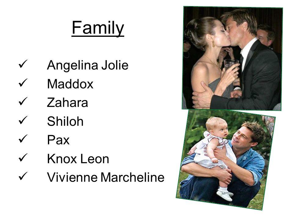 Family Angelina Jolie Maddox Zahara Shiloh Pax Knox Leon Vivienne Marcheline