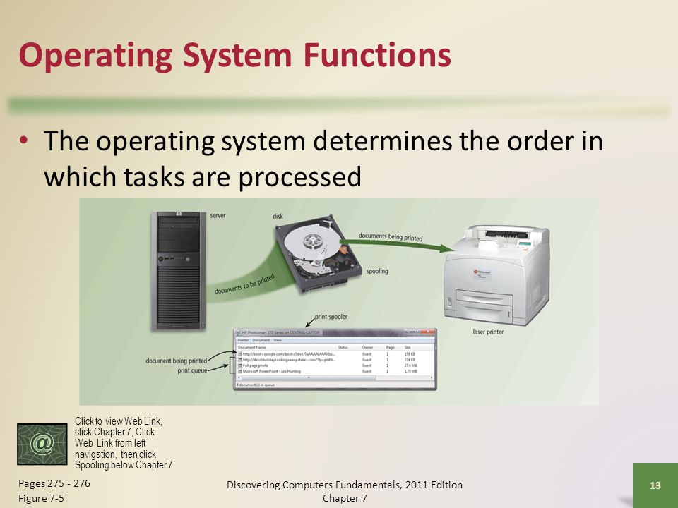 Operating System Functions The operating system determines the order in which tasks are processed Discovering Computers Fundamentals, 2011 Edition Cha