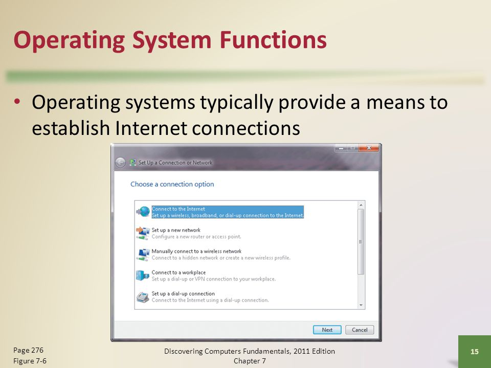 Operating System Functions Operating systems typically provide a means to establish Internet connections Discovering Computers Fundamentals, 2011 Edit