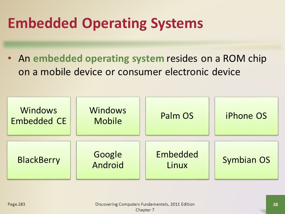 Embedded Operating Systems An embedded operating system resides on a ROM chip on a mobile device or consumer electronic device Discovering Computers F