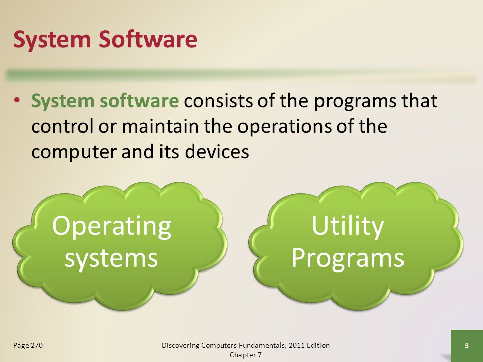 System Software System software consists of the programs that control or maintain the operations of the computer and its devices Discovering Computers