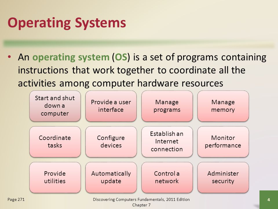 Operating System Functions Operating systems typically provide a means to establish Internet connections Discovering Computers Fundamentals, 2011 Edition Chapter 7 15 Page 276 Figure 7-6