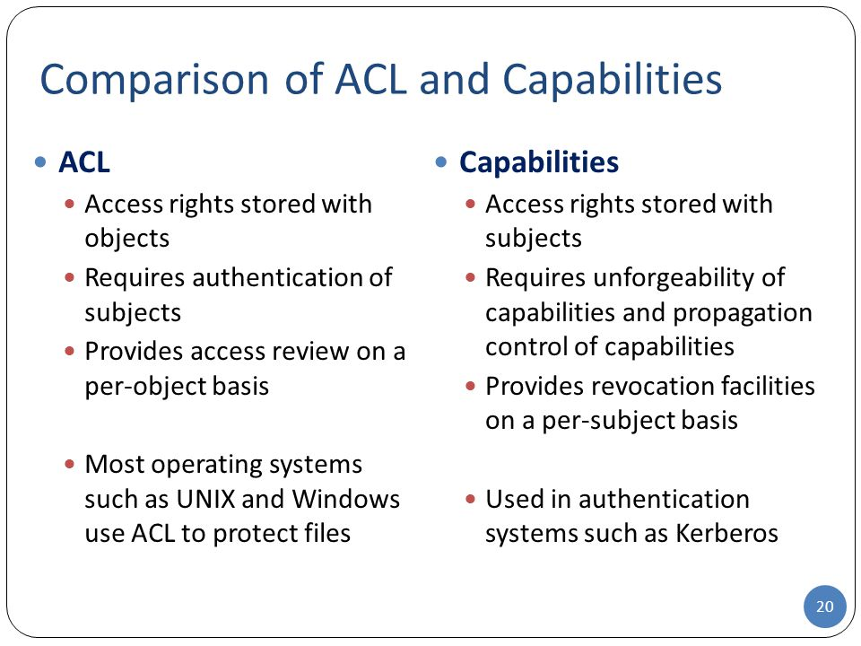 Comparison of ACL and Capabilities 20 ACL Access rights stored with objects Requires authentication of subjects Provides access review on a per-object basis Most operating systems such as UNIX and Windows use ACL to protect files Capabilities Access rights stored with subjects Requires unforgeability of capabilities and propagation control of capabilities Provides revocation facilities on a per-subject basis Used in authentication systems such as Kerberos