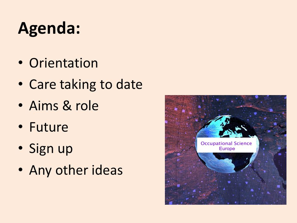 Agenda: Orientation Care taking to date Aims & role Future Sign up Any other ideas