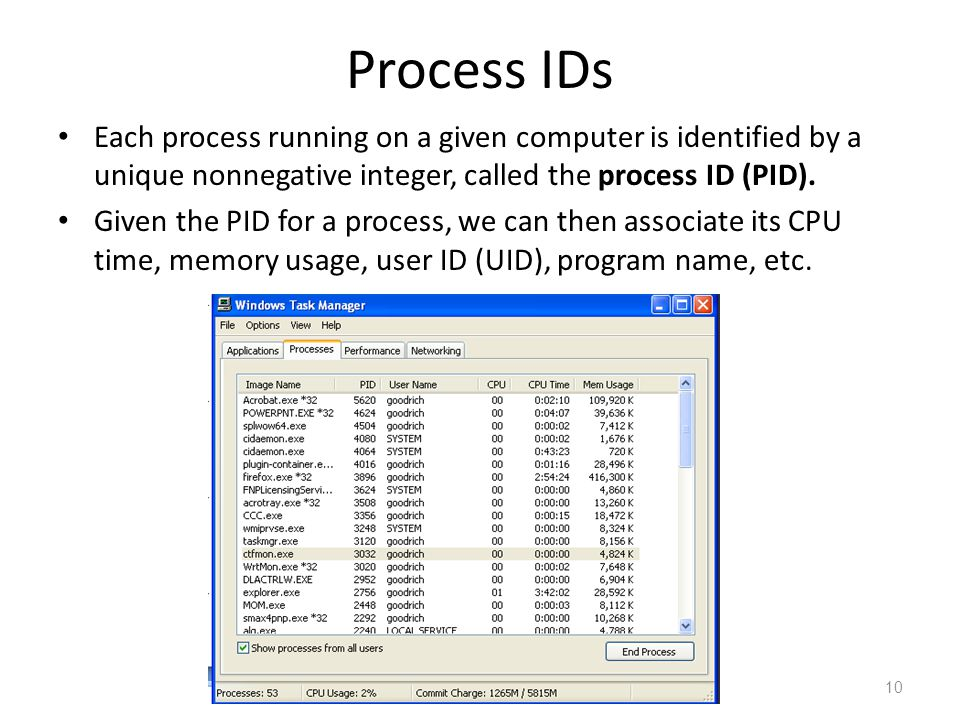 Process IDs Each process running on a given computer is identified by a unique nonnegative integer, called the process ID (PID).