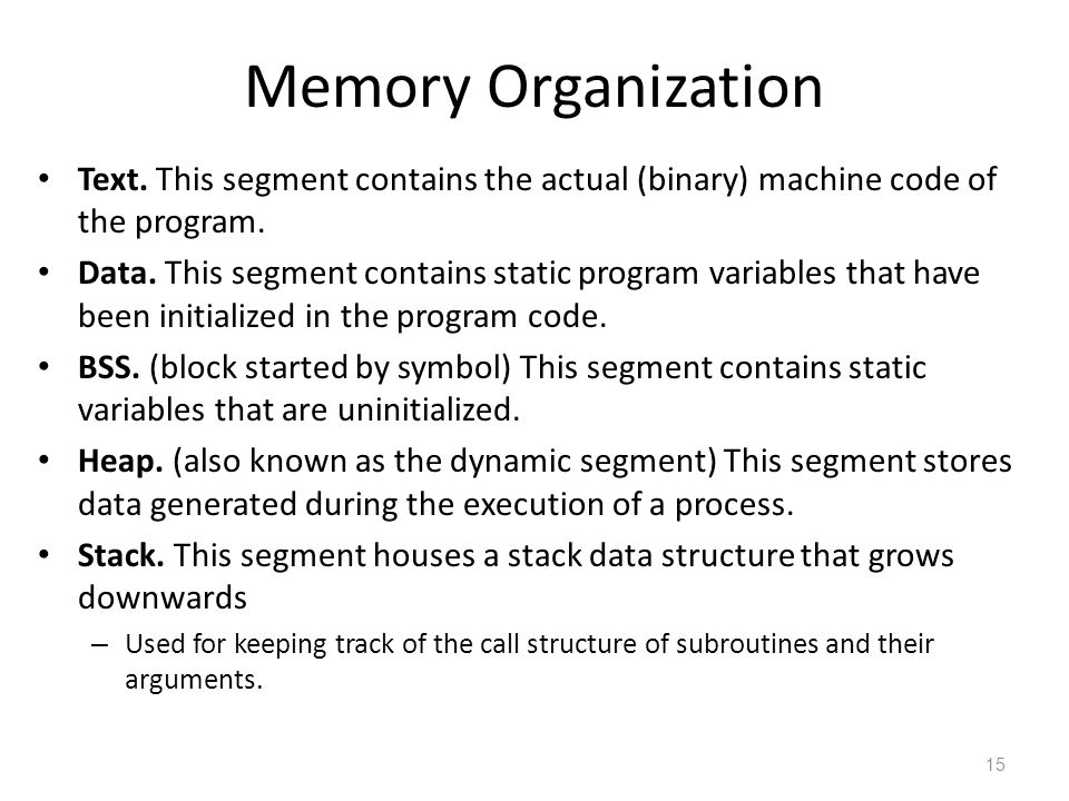 Memory Organization Text. This segment contains the actual (binary) machine code of the program.