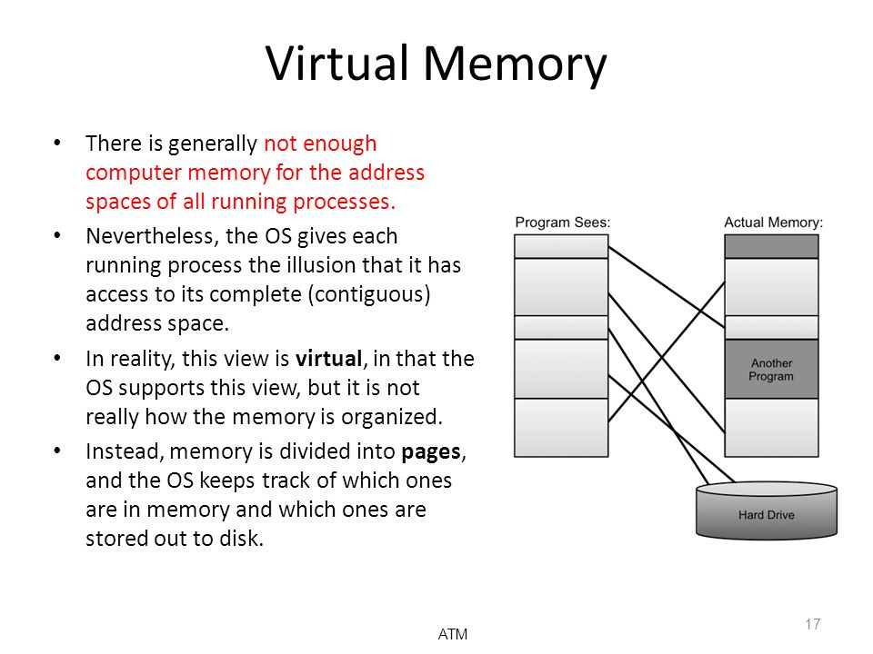 Virtual Memory There is generally not enough computer memory for the address spaces of all running processes. Nevertheless, the OS gives each running