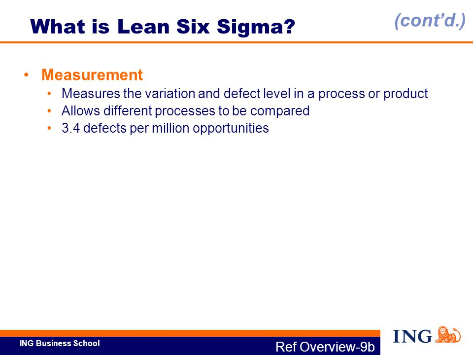 ING Business School Ref Overview-9c What is Lean Six Sigma.