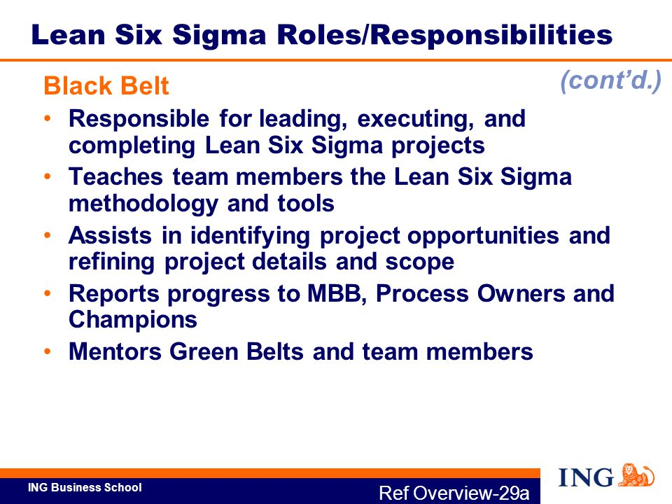 ING Business School Ref Overview-29b Lean Six Sigma Roles/Responsibilities Green Belt Assists Black Belt as team member Can lead smaller scope projects Reports progress to MBB or BB, Process Owners and Sponsors Project Team Members/Subject Matter Experts (SMEs) Provide process knowledge and understanding Participate in identifying and gathering data Identify gaps Help analyze data and identify solutions (cont'd.)
