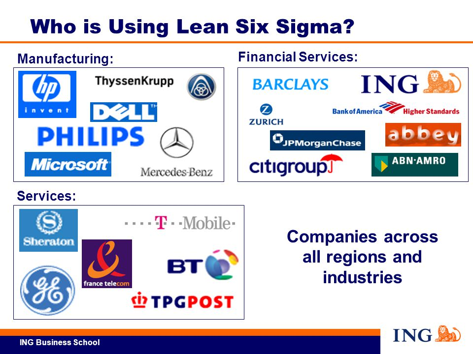 ING Business School Companies across all regions and industries Services: Manufacturing: Financial Services: Who is Using Lean Six Sigma?