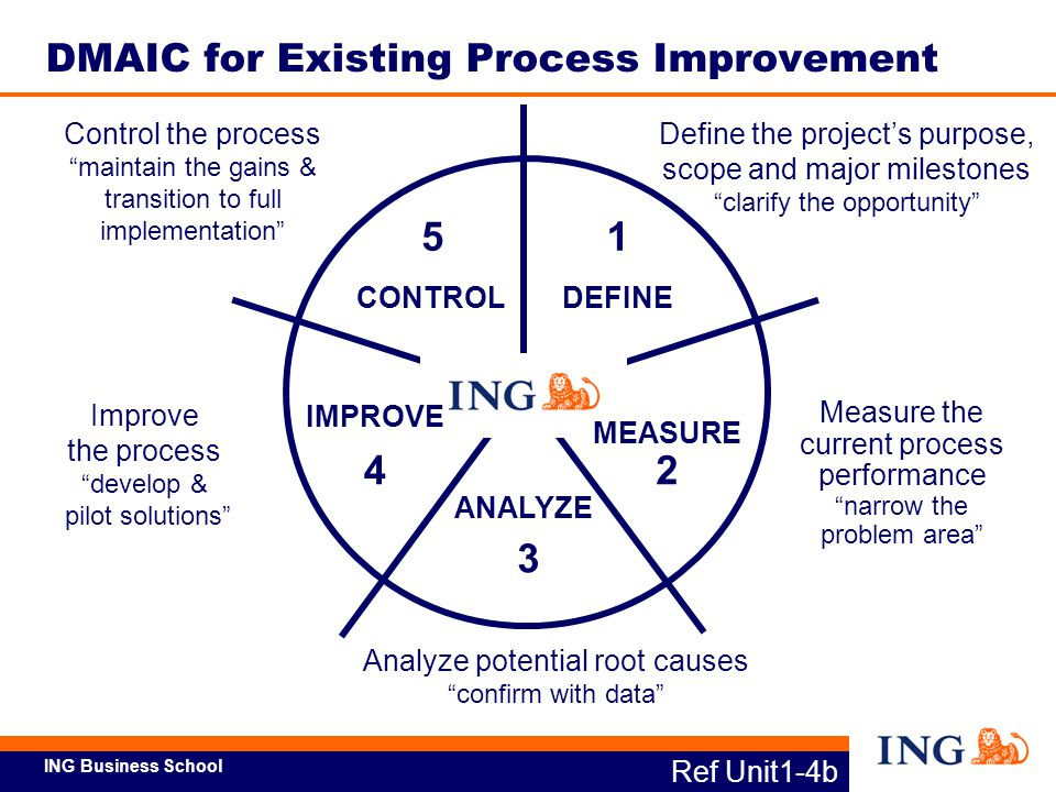 ING Business School Ref Unit1-5 Lead Team Fills Lean Six Sigma Roles Project Roles Executive Champion Project Sponsor Process Owner Master BlackBelt BlackBelt GreenBelt SMEs (cont'd.)