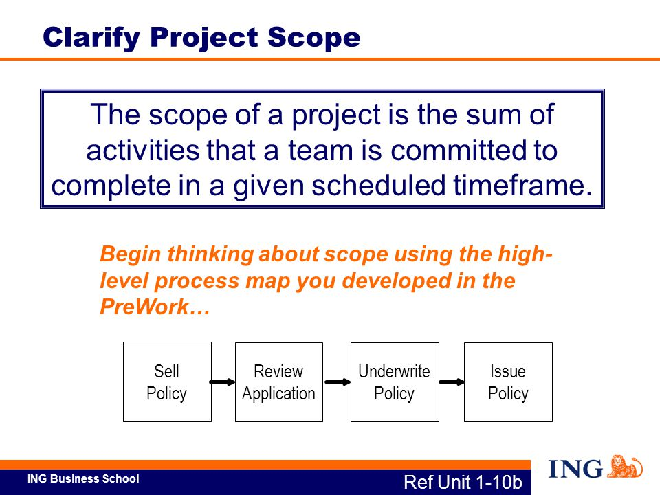 ING Business School In and Out of Scope Analysis Ref Unit 1-11 Clarify Project Scope (cont'd.)