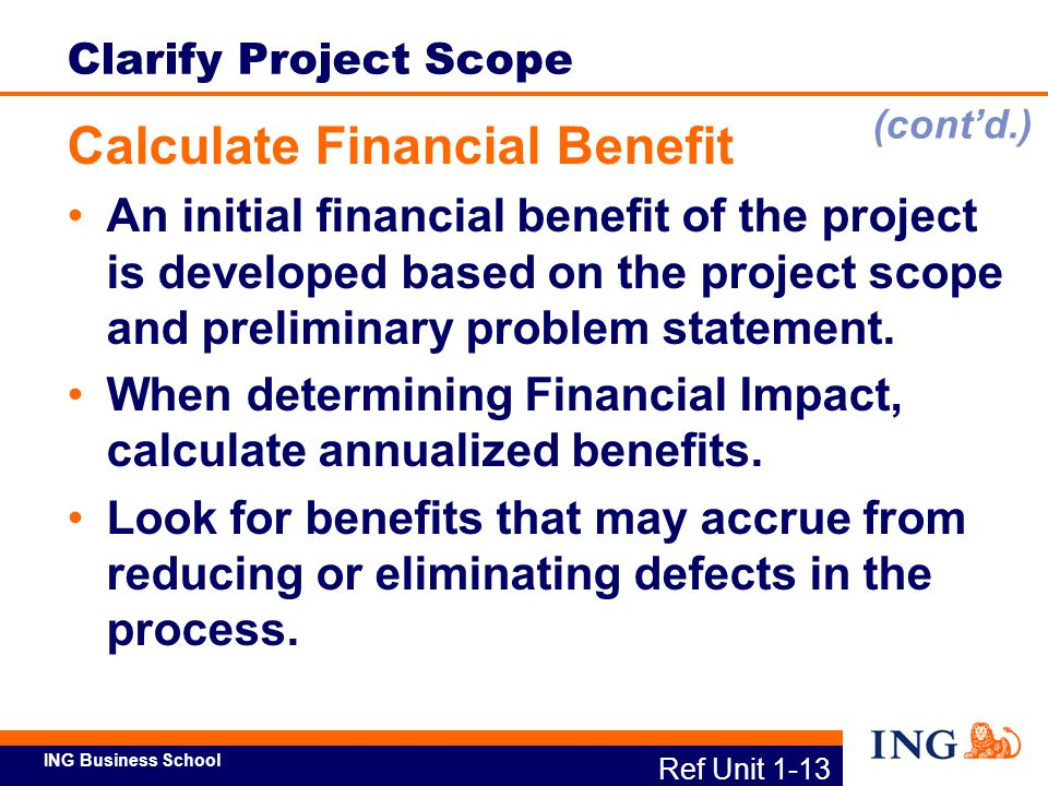 ING Business School Ref Unit 1-14 Clarify Project Scope Activity