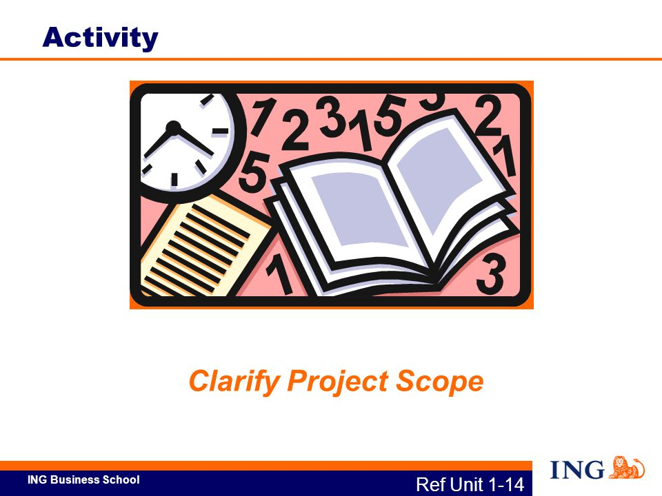 ING Business School Launch the Project Identify Stakeholder Expectations Clarify Project Scope Develop Project Charter and Schedule Measure Customer CCRs Ref Unit 1-15a Define – Major Activities
