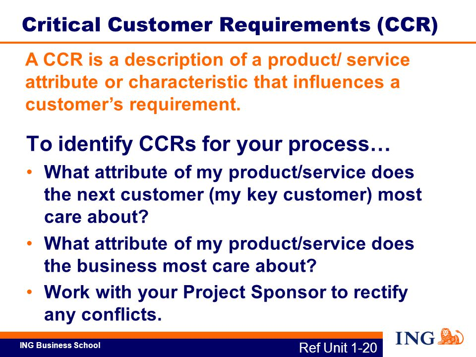 ING Business School Critical Customer Requirement Service Attribute Outcome Metric I want new insurance policies issued quickly.