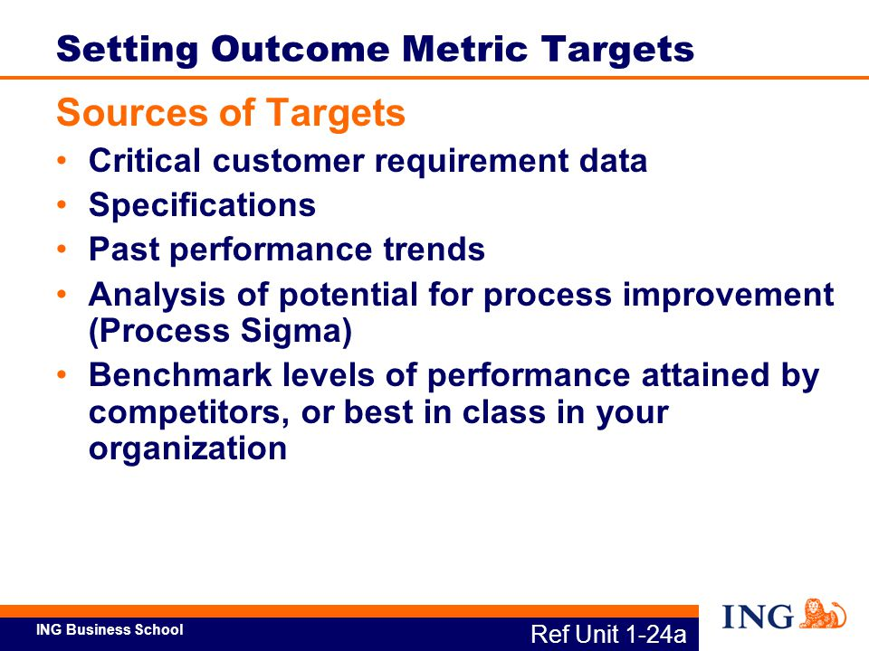 ING Business School Ref Unit 1-24b Setting Outcome Metric Targets Tips for Setting Targets Use numbers to clarify desired level of performance Be prepared to change target Establish a time frame for achieving target with intermediate targets With multiple process outputs, set targets for each to realize the overall product or service target (cont'd.)