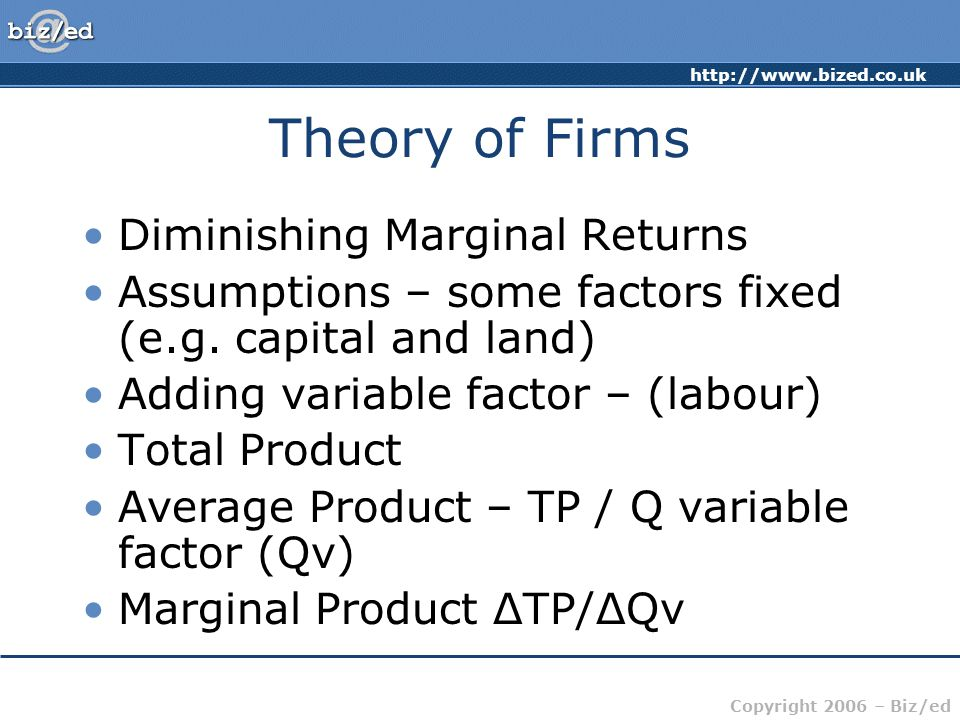 http://www.bized.co.uk Copyright 2006 – Biz/ed Theory of Firms Diminishing Marginal Returns Assumptions – some factors fixed (e.g.