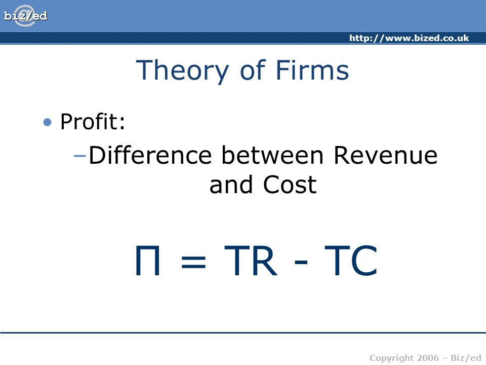 http://www.bized.co.uk Copyright 2006 – Biz/ed Theory of Firms Profit: –Difference between Revenue and Cost Π = TR - TC
