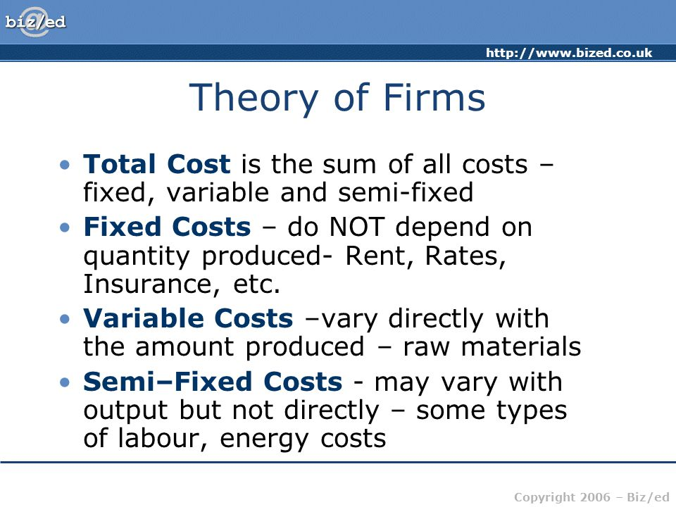 http://www.bized.co.uk Copyright 2006 – Biz/ed Theory of Firms Total Cost is the sum of all costs – fixed, variable and semi-fixed Fixed Costs – do NOT depend on quantity produced- Rent, Rates, Insurance, etc.
