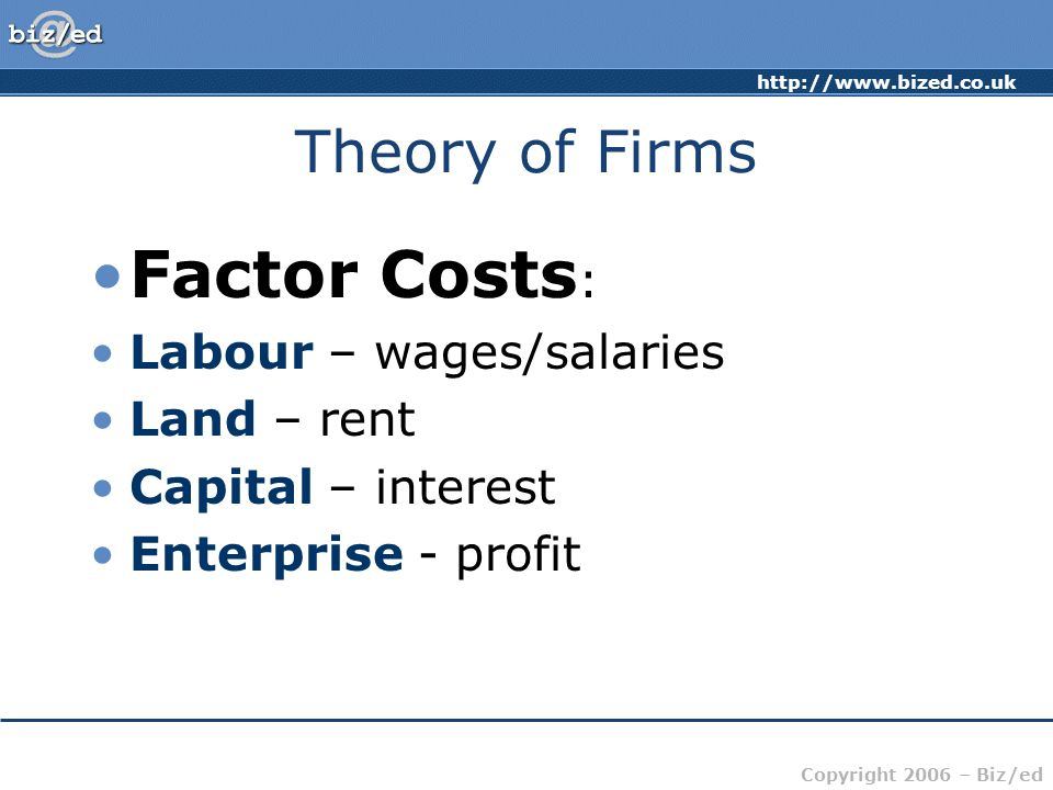 http://www.bized.co.uk Copyright 2006 – Biz/ed Theory of Firms Factor Costs : Labour – wages/salaries Land – rent Capital – interest Enterprise - profit