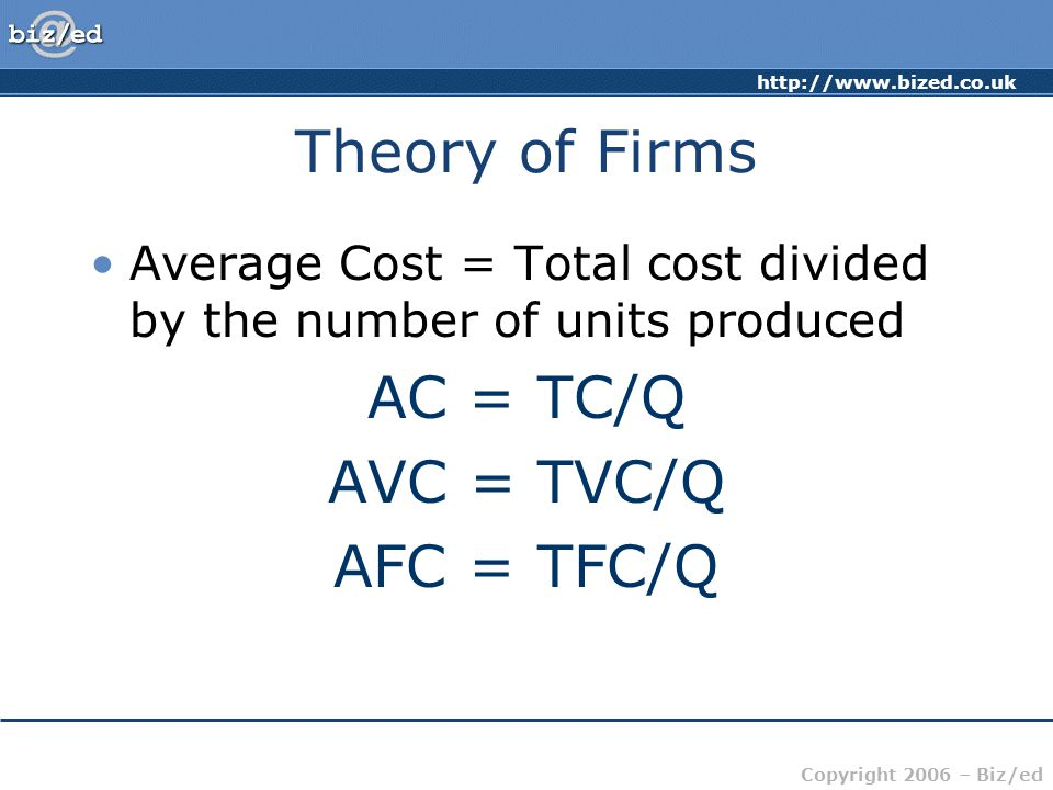 http://www.bized.co.uk Copyright 2006 – Biz/ed Theory of Firms Average Cost = Total cost divided by the number of units produced AC = TC/Q AVC = TVC/Q