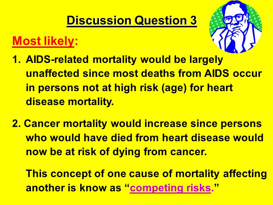 Discussion Question 3 Most likely: 1.AIDS-related mortality would be largely unaffected since most deaths from AIDS occur in persons not at high risk