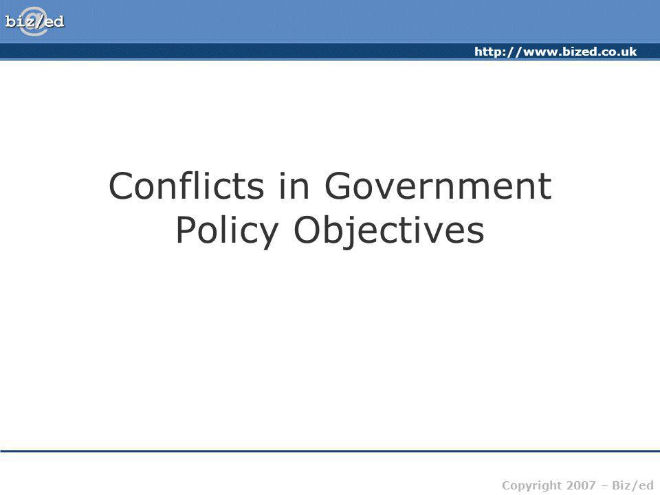 http://www.bized.co.uk Copyright 2007 – Biz/ed Conflicts in Government Policy Objectives International Aid versus Domestic Priorities: –There may be an imperative to increase aid abroad to combat poverty, starvation, etc.