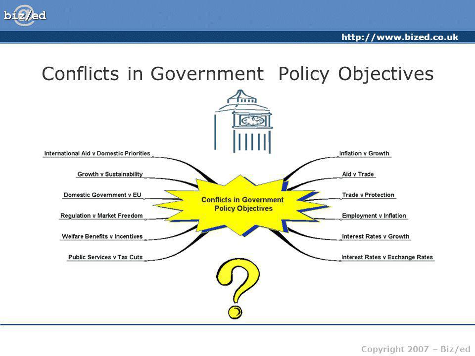 http://www.bized.co.uk Copyright 2007 – Biz/ed Conflicts in Government Policy Objectives Government now accounts for nearly 40% of all economic activity Governments have a wide range of economic and non-economic policy objectives Many of these will involve conflicts – cannot have everything.