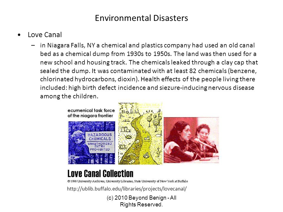 Environmental Disasters Love Canal –in Niagara Falls, NY a chemical and plastics company had used an old canal bed as a chemical dump from 1930s to 19